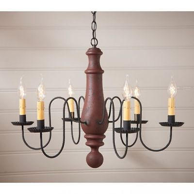 Country Primitive Farmhouse LARGE NORFOLK WOODEN CHANDELIER in RED USA Made