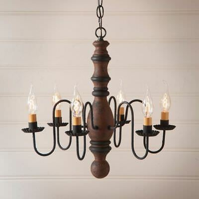 Country Primitive Farmhouse MANASSAS WOODEN CHANDELIER in PUMPKIN USA Made
