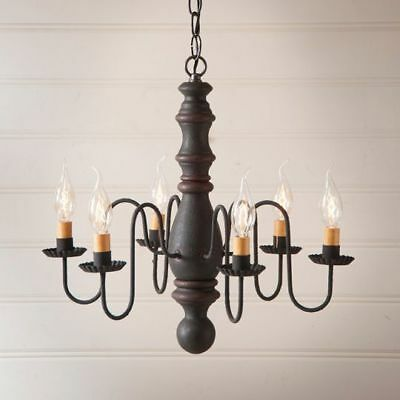 Country Primitive Farmhouse MANASSAS WOODEN CHANDELIER in BLACK w/ RED STRIPE