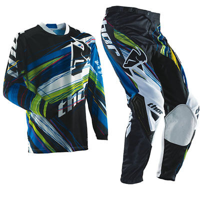 Thor phase vented motorbike MX offroad pants jersey combo mens blue 28-44 S-3XL