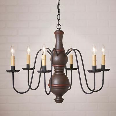 Country Primitive Farmhouse LARGE CHESTERFIELD WOOD CHANDELIER in ESPRESSO