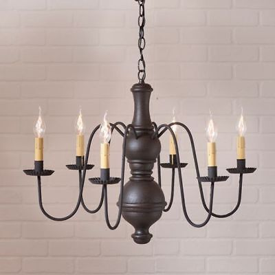 Country Primitive Farmhouse LARGE CHESTERFIELD WOOD CHANDELIER in BLACK USA Made