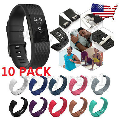 10 Pack Replacement Wristband For Fitbit Charge 2 Band Silicone Fitness Small US
