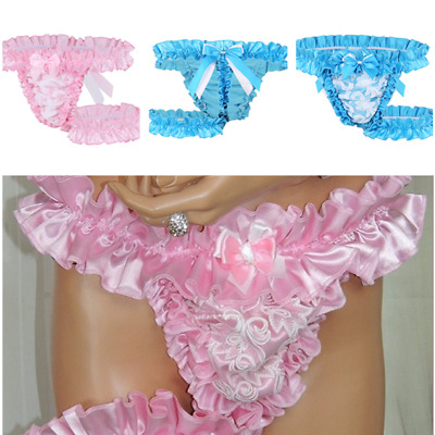 Men's Lace Frilly Satin Ruffle High-cut bloomers Underwear Sissy Lingerie Garter