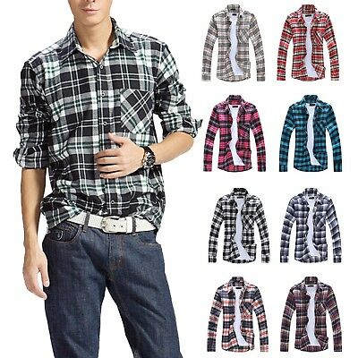 6mens Plaid Shirt Spring Apparel Vintage Classic High Quality Fashion Size XS-L