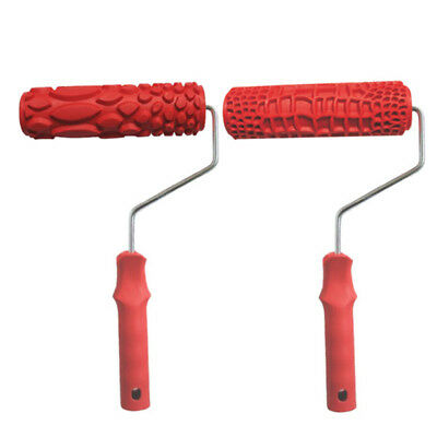 """2pcs 7"""" Rubber Wall Art Embossed Painting Roller for DIY Painter Wall Decor"""