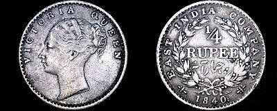 1840 Indian 1/4 Rupee World Silver Coin - British India