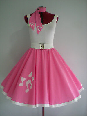 """GIRLS/LADIES ROCK N ROLL/ROCKABILLY """"Music Notes"""" SKIRT-SCARF XS-S Pink."""