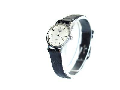 6c9931164f9e1 Auth LONGINES Silver Dial Black Leather Band Quartz Women s Watch LW16405L