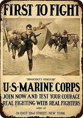 "US Marine Corps First to Fight Rustic Retro Metal Sign 8"" x 12"""