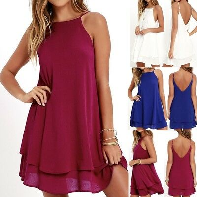 Women Boho Summer Chiffon Strappy Beach Wear Sundress Ladies Backless Mini Dress