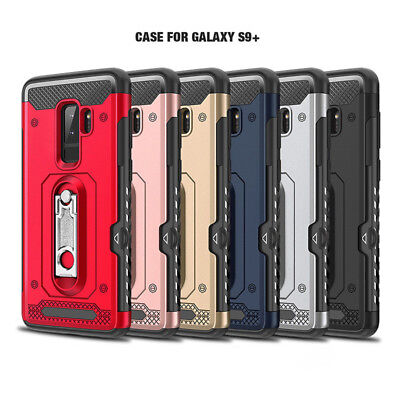 For Samsung Galaxy S9 Plus S8 Shockproof Metal Kickstand Hybrid Armor Case Cover