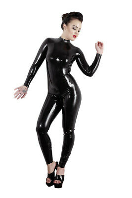 Catsuit Intera Tutina Nera in Latex con colletto Bodystocking Cat Woman Sexy