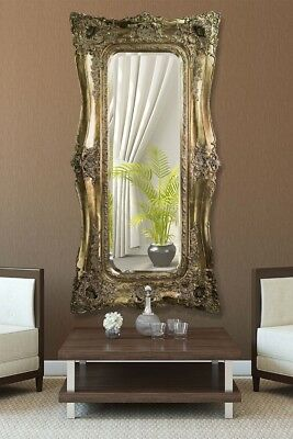 Extra Large Very Ornate Full Length Antique Gold Wall Mirror 6ft x 3ft