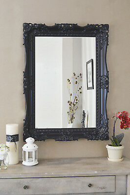 Large Black Very Ornate Antique Design Big Wall Mirror 3Ft1 X 2Ft3 94cm X 68cm