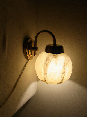 German Art deco Bauhaus Glass and Brass Wall Lamp Sconce #<