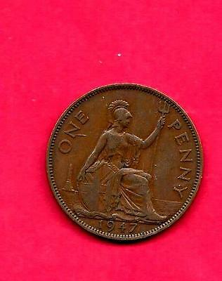 Great Britain Gb Uk Km845 1947 Vf-Very Fine-Nice Old Vintage Bronze Penny Coin