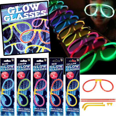 Neon Glow In The Dark Glasses Fun Glow Stick Glasses Birthday Party Bag Fillers