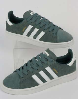 adidas Campus Trainers in Raw Green & White suede - retro classic shoe SALE