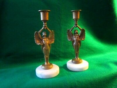 SALE Antique Art Deco Pair of Winged Egyptian Goddess Candlesticks  Brass