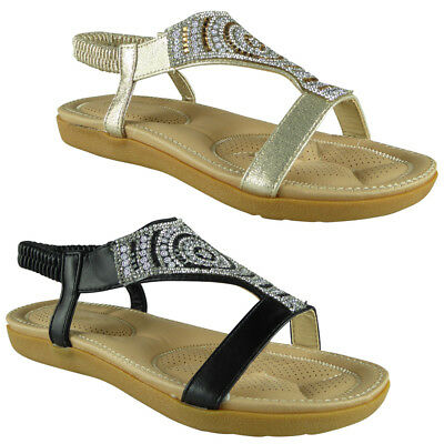 3263d09bb67 Womens Ladies Diamante Low Wedge Comfy Strap Summer Peep-toe Sandals Shoes  Sizes