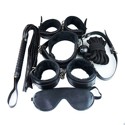 Bondage Set Adult Kit Collar Ball gag Blindfold Cuffs Whip Restraints Gag Collar