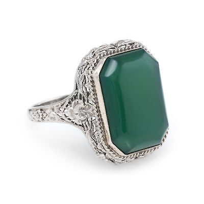 Antique Deco Chrysoprase Filigree Ring Vintage 14k White Gold Estate Jewelry