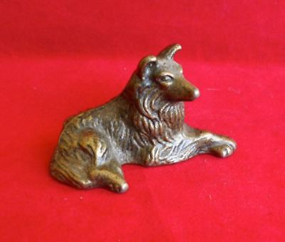 Vintage Small Brass Clad Pewter SOLID Metal Collie Sheltie Dog Figurine c1970s