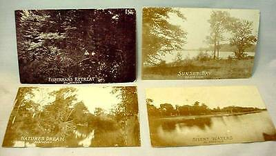 4 Postcards by Scheuer Silent Waters Natures Dream Sunset Bay Fishermans Retreat