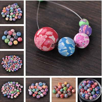 Wholesale Random Mixed 6~15mm Polymer Clay Flower Round Loose Spacer Beads