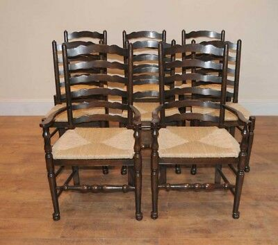 8 Solid Oak Pad foot Ladderback Kitchen Chairs