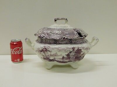 HUGE 1830s 40s Tillenburg Purple Staffordshire Transferware Fullsize Soup Tureen