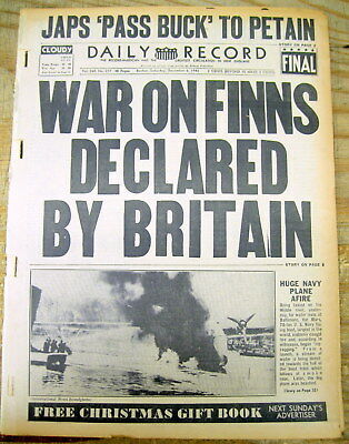 1941 WW II headline display newspaper GREAT BRITAIN DECLARES WAR on FINLAND