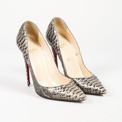 cd1ad22397 CHRISTIAN LOUBOUTIN BRONZE Python Pointed Toe