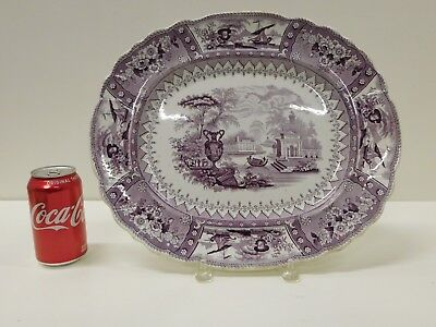 Huge ANTIQUE 1830s Purple Staffordshire Transferware T J & J Myer Canova Platter