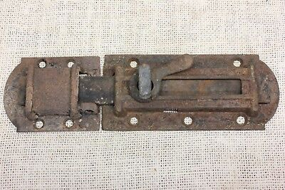 "1860's House Shutter Latch vintage old rustic slide bolt 8 3/4"" clean cast iron"