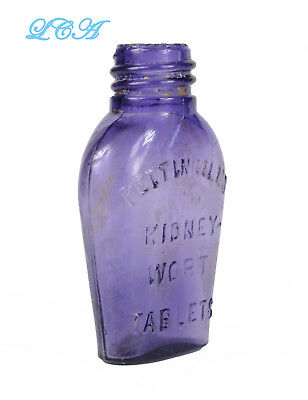 Little PURE purple KIDNEY-WORT TABLETS antique PETTINGILL'S bottle handblown BIM