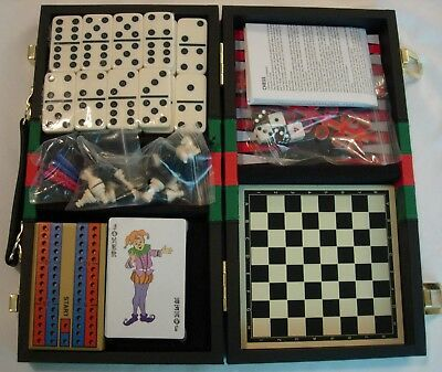 6-In-1 Travel Game Set Chess, Checkers, Backgammon, Cribbage, Dominoes & Cards
