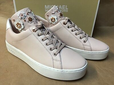 d96fba1f5df NEW Michael Kors Mindy Lace Up Leather Floral Sneakers 9.5/10 Soft Pink  Shoes