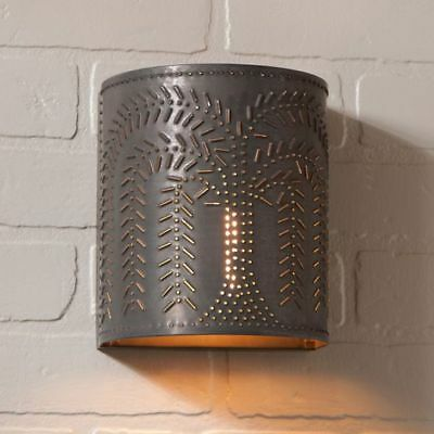Country Primitive Farmhouse Punched Tin WILLOW SCONCE LIGHT in BLACKENED TIN