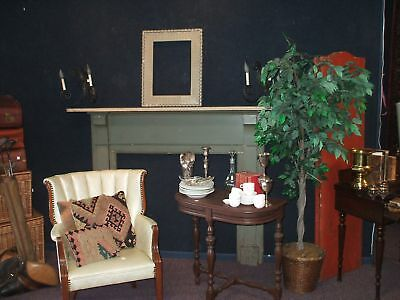 Wood Mantle Vintage Antique Fireplace Urban Rustic Primitive Country Green Cream