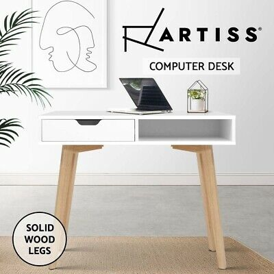 Office Computer Desk Study Solid wood 2 Drawer Table Storage Cabinet Student
