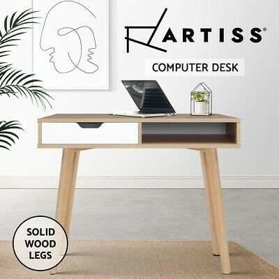 Office Computer Desk Study 2 Drawers Table Storage Cabinet Student Solid Wood