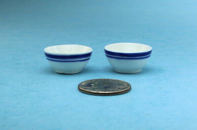 Set of 2 Dollhouse Miniature White & Blue Porcelain Mixing Bowls 1:12 #MPLD7
