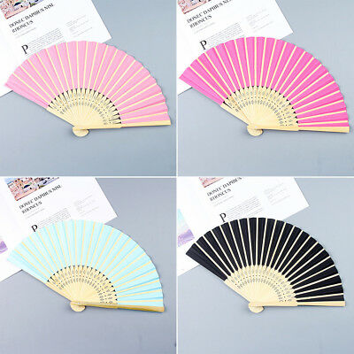 Durable Bamboo Hand Fan Handhold Party Wedding Dancing Supplies Solid Color