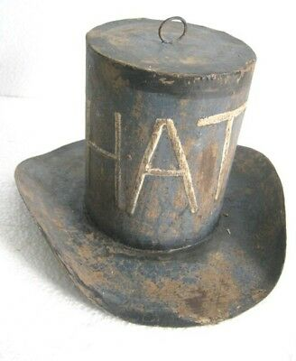 d687f12eb78d64 ANTIQUE OLD IRON Hat Trade Sign Store Display , Blue Hat - $142.06 ...
