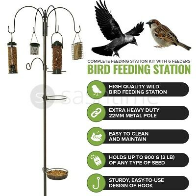 Wild Bird Feeding Station With Hanging Feeders Garden Water Bath Table Seed Tray