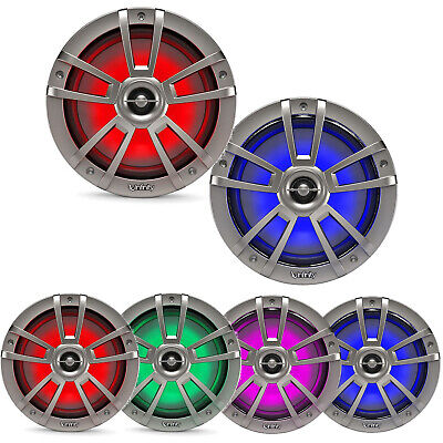 """Infinity Reference 8"""" Coaxial Marine RGB LED Titanium Speakers (Pair)"""