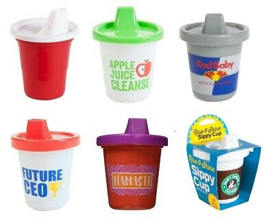 7 OZ Gama Go Funny Novelty Sippy Cups Ceo Apple Cleanse Red Solo or Namaste 3m+
