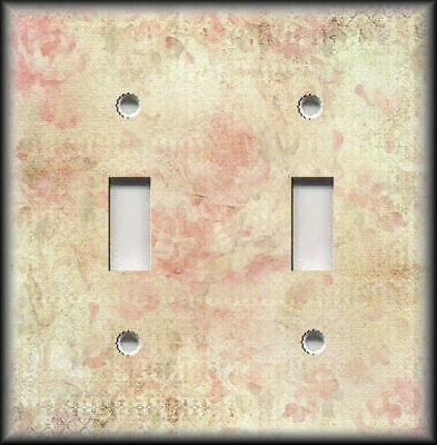 Metal Light Switch Plate Cover Shabby Chic Home Decor Floral Art Decor Pink